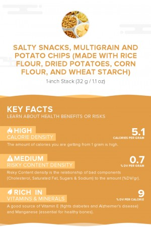 Salty snacks, multigrain and potato chips (made with rice flour, dried potatoes, corn flour, and wheat starch)