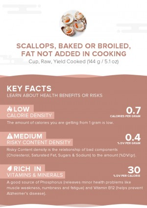 Scallops, baked or broiled, fat not added in cooking