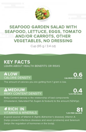 Seafood garden salad with seafood, lettuce, eggs, tomato and/or carrots, other vegetables, no dressing