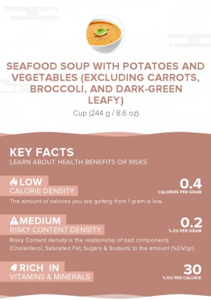 Seafood soup with potatoes and vegetables (excluding carrots, broccoli, and dark-green leafy)
