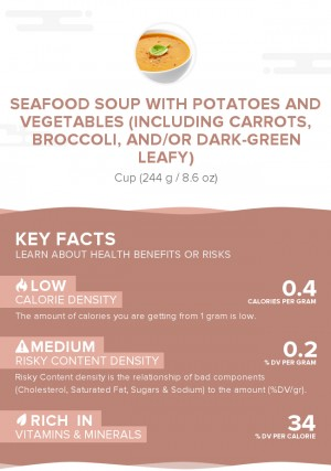 Seafood soup with potatoes and vegetables (including carrots, broccoli, and/or dark-green leafy)