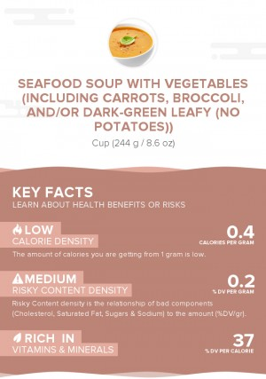 Seafood soup with vegetables (including carrots, broccoli, and/or dark-green leafy (no potatoes))