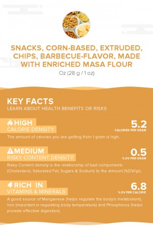 Snacks, corn-based, extruded, chips, barbecue-flavor, made with enriched masa flour