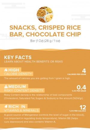 Snacks, crisped rice bar, chocolate chip