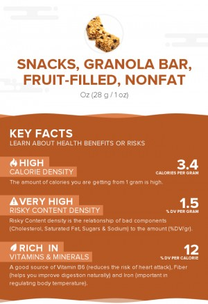 Snacks, granola bar, fruit-filled, nonfat