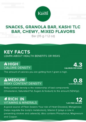 Snacks, granola bar, KASHI TLC Bar, chewy, mixed flavors