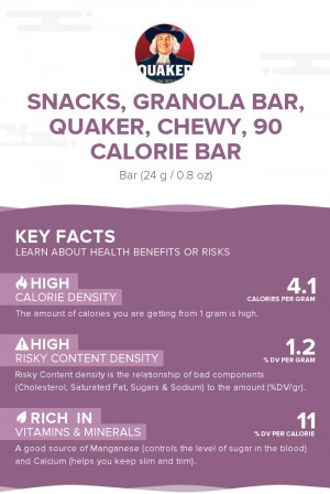 Snacks, granola bar, QUAKER, chewy, 90 Calorie Bar