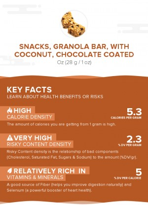 Snacks, granola bar, with coconut, chocolate coated