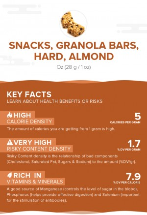 Snacks, granola bars, hard, almond