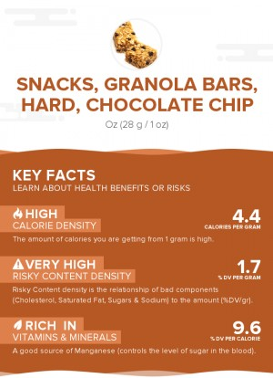 Snacks, granola bars, hard, chocolate chip