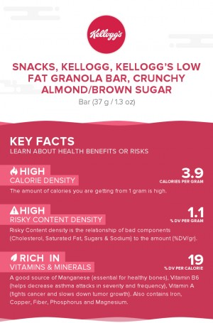 Snacks, KELLOGG, KELLOGG'S Low Fat Granola Bar, Crunchy Almond/Brown Sugar