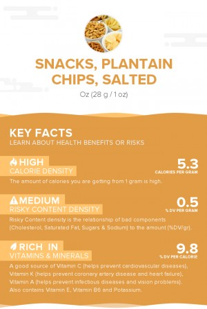 Snacks, plantain chips, salted