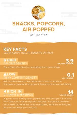 Snacks, popcorn, air-popped