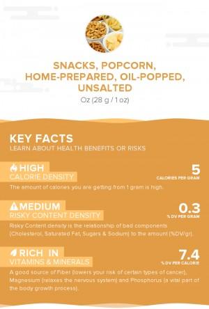 Snacks, popcorn, home-prepared, oil-popped, unsalted