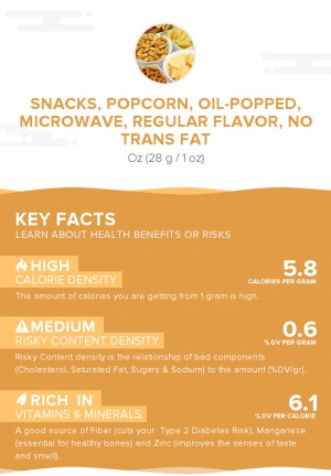 Snacks, popcorn, oil-popped, microwave, regular flavor, no trans fat