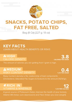 Snacks, potato chips, fat free, salted