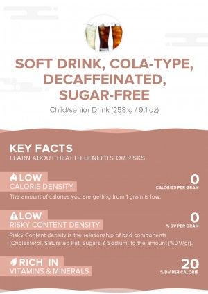 Soft drink, cola-type, decaffeinated, sugar-free