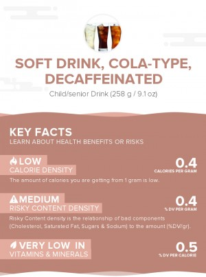 Soft drink, cola-type, decaffeinated