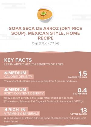 Sopa seca de arroz (dry rice soup), Mexican style, home recipe