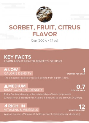 Sorbet, fruit, citrus flavor