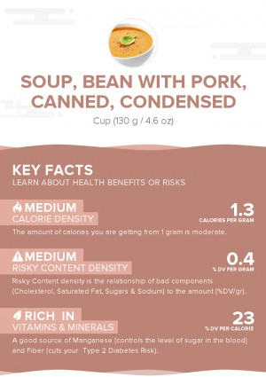 Soup, bean with pork, canned, condensed