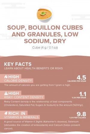 Soup, bouillon cubes and granules, low sodium, dry