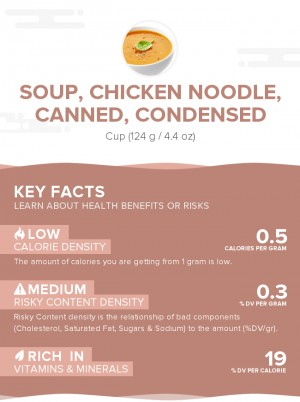 Soup, chicken noodle, canned, condensed