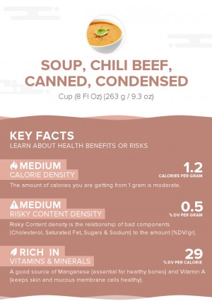Soup, chili beef, canned, condensed
