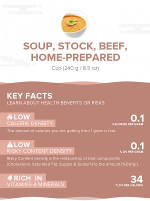 Soup, stock, beef, home-prepared