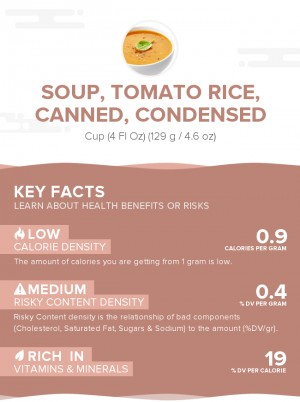 Soup, tomato rice, canned, condensed