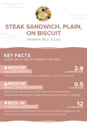 Steak sandwich, plain, on biscuit