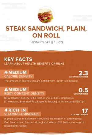 Steak sandwich, plain, on roll