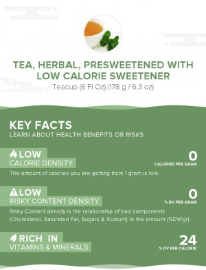 Tea, herbal, presweetened with low calorie sweetener