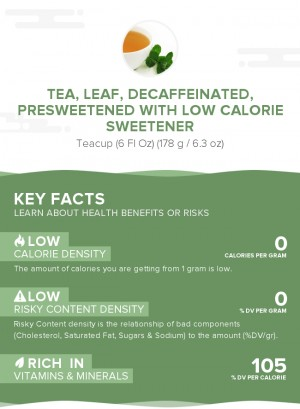 Tea, leaf, decaffeinated, presweetened with low calorie sweetener