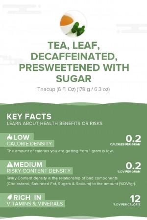 Tea, leaf, decaffeinated, presweetened with sugar