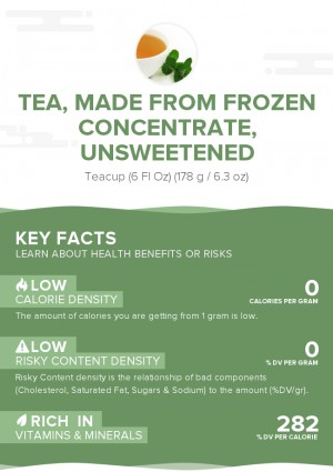 Tea, made from frozen concentrate, unsweetened