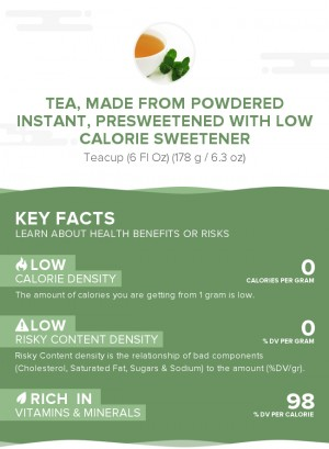 Tea, made from powdered instant, presweetened with low calorie sweetener