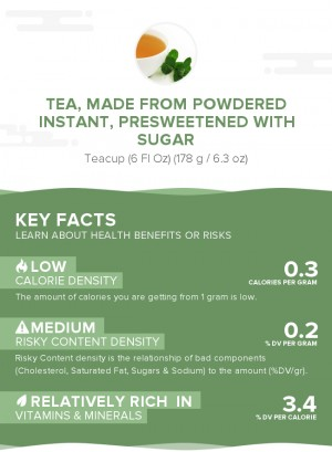 Tea, made from powdered instant, presweetened with sugar