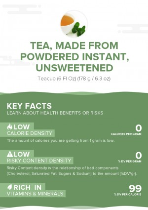 Tea, made from powdered instant, unsweetened