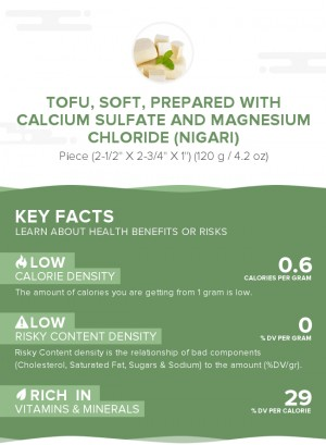 Tofu, soft, prepared with calcium sulfate and magnesium chloride (nigari)