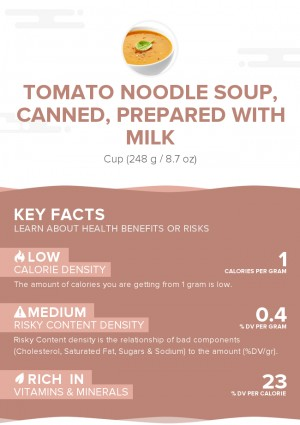 Tomato noodle soup, canned, prepared with milk