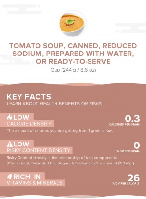 Tomato soup, canned, reduced sodium, prepared with water, or ready-to-serve