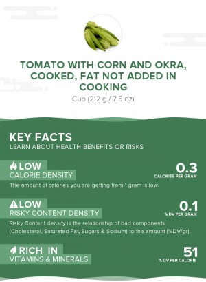 Tomato with corn and okra, cooked, fat not added in cooking