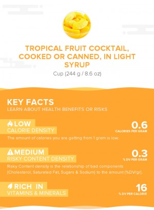 Tropical fruit cocktail, cooked or canned, in light syrup