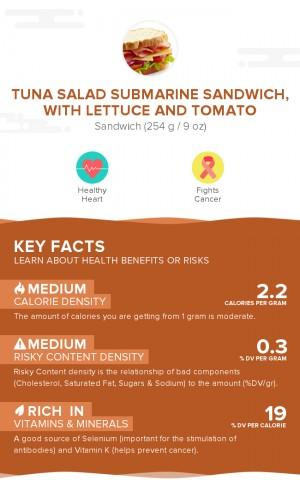 Tuna salad submarine sandwich, with lettuce and tomato