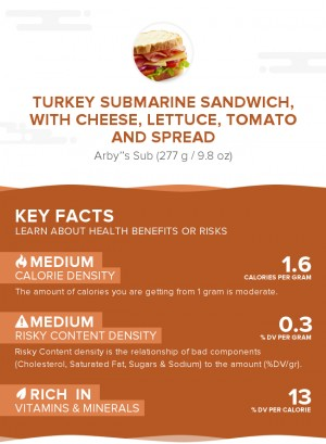 Turkey submarine sandwich, with cheese, lettuce, tomato and spread