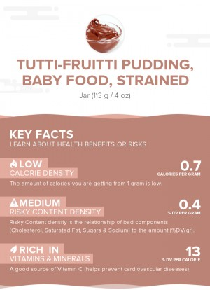Tutti-fruitti pudding, baby food, strained