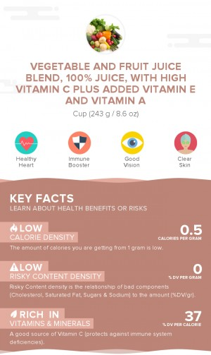 Vegetable and fruit juice blend, 100% juice, with high vitamin C plus added vitamin E and vitamin A