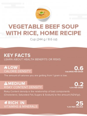 Vegetable beef soup with rice, home recipe