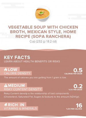 Vegetable soup with chicken broth, Mexican style, home recipe (Sopa Ranchera)
